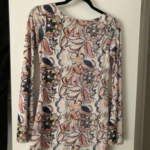 Zara pattern mini dress bell sleeve